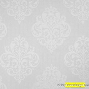 Beyaz Damask Desenli Duvar Kağıdı
