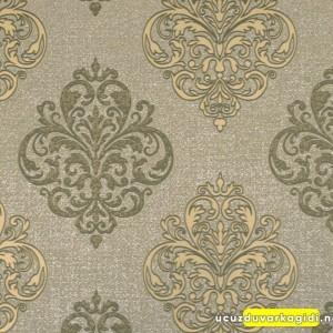Damask Desenli Bej Altın Duvar Kağıdı