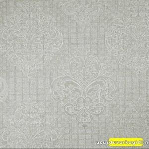 Damask Desenli Gümüş Duvar Kağıdı