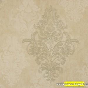 Damask Eskitme Bej Duvar Kağıdı