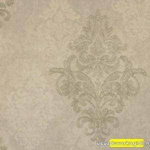Damask Eskitme Gri Duvar Kağıdı