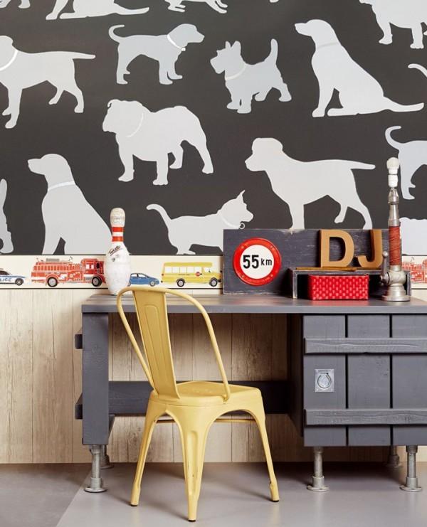 Genç Odası Sevimli Köpekler Duvar Kağıdı