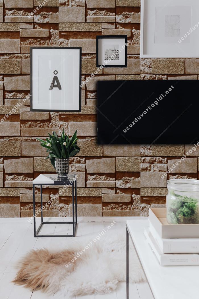 taş desenli duvar kağıdı kahverengi