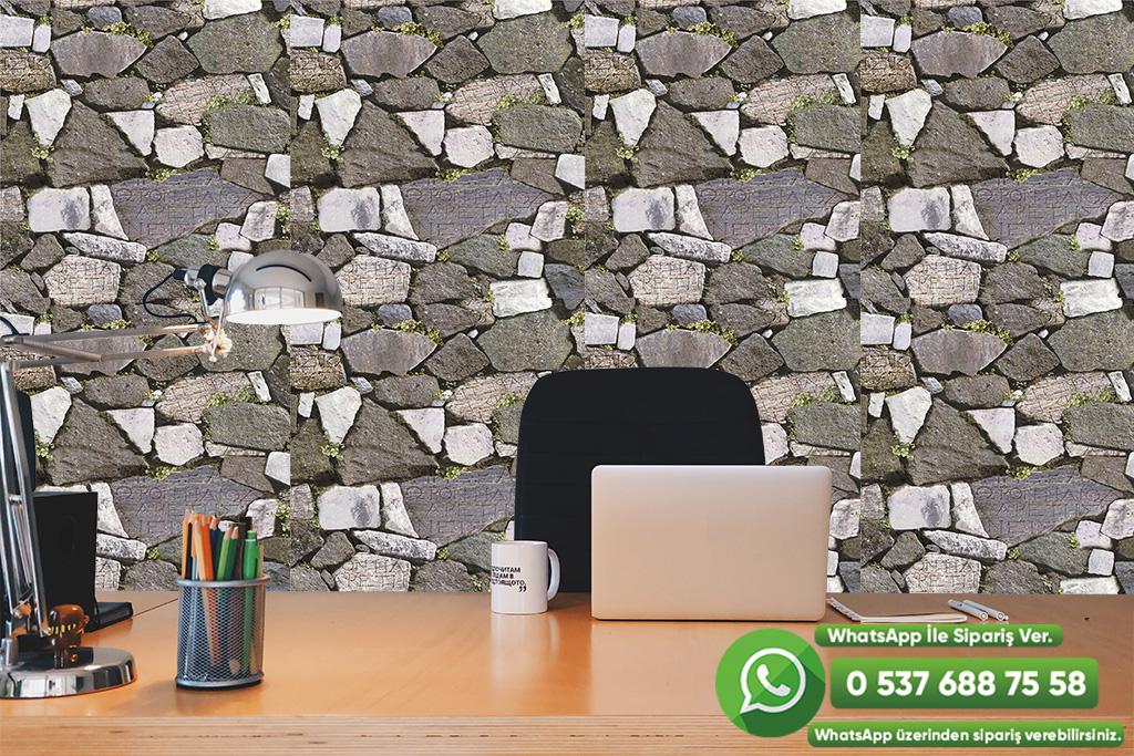 3 Boyutlu Taş Desenli Duvar Kağıdı Yeşil