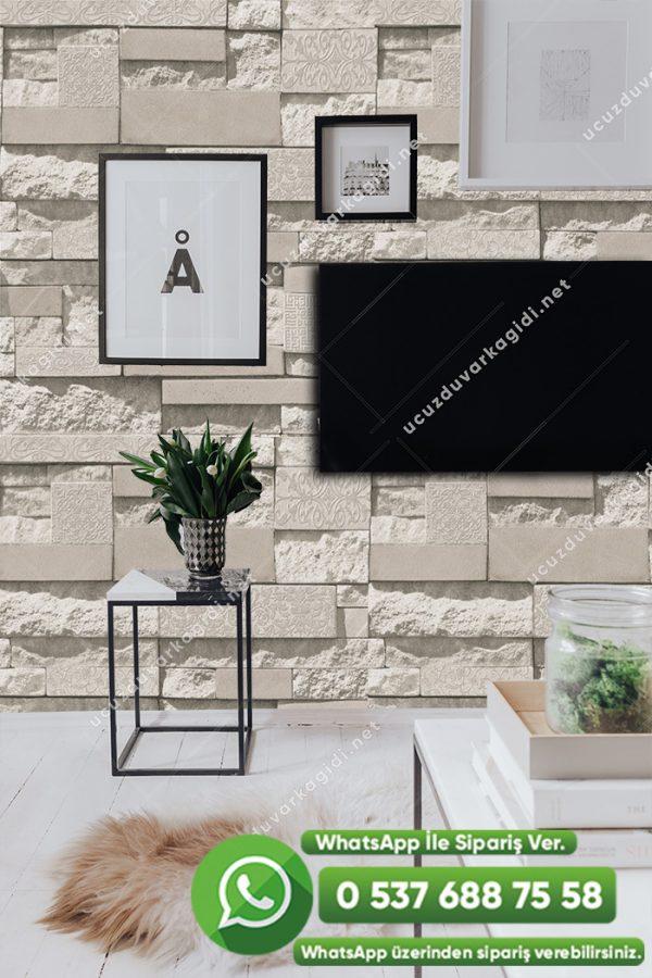 3 Boyutlu Taş Desenli Duvar Kağıdı Krem