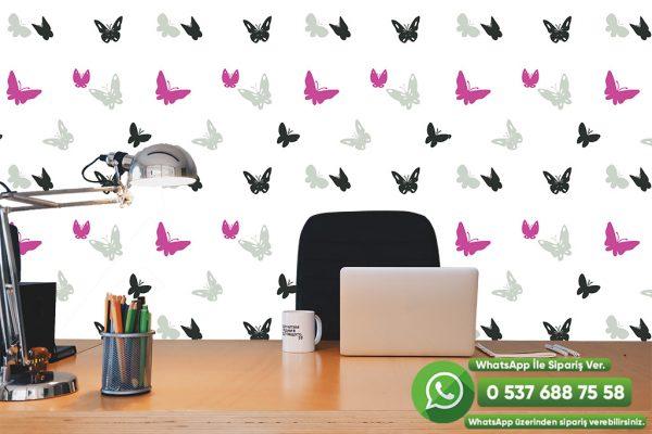 Beyaz Duvar Kağıdı Kuş Desenli