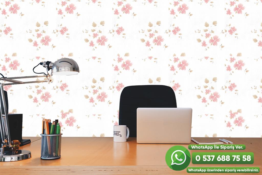 Pembe Çiçekli Duvar Kağıdı
