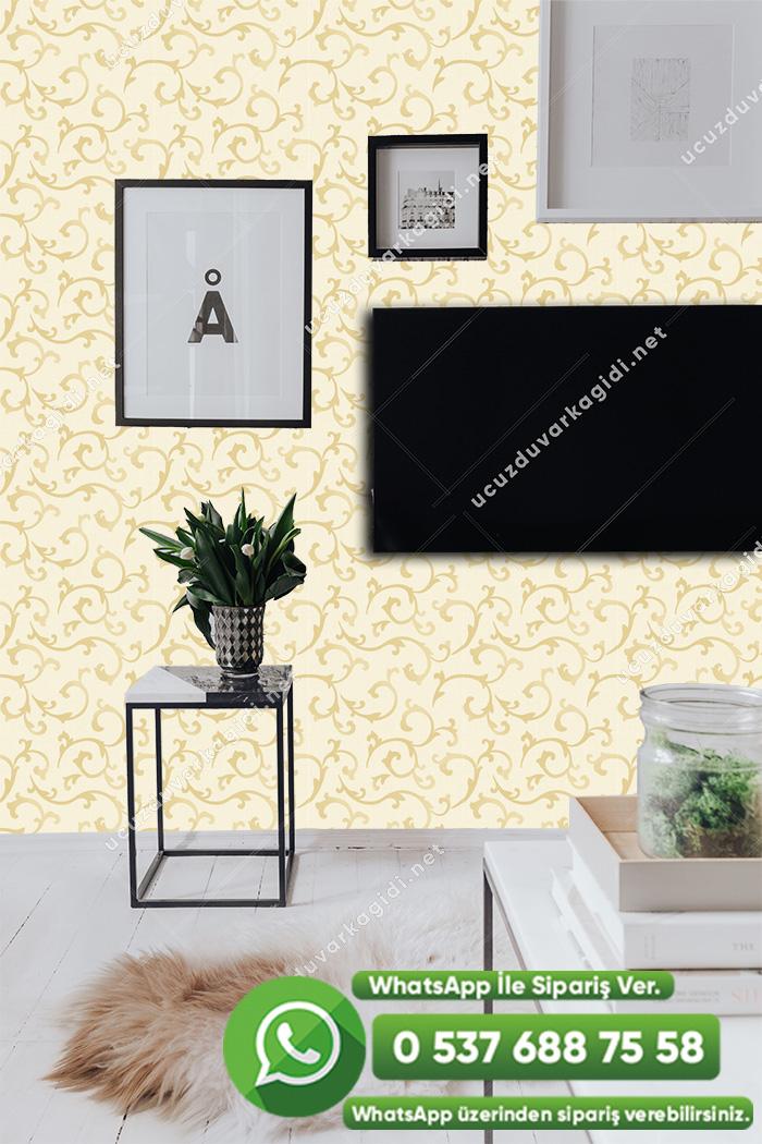 Sarı Krem Çizgili Duvar Kağıdı