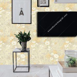 Sarı Gri Çiçekli Duvar Kağıdı