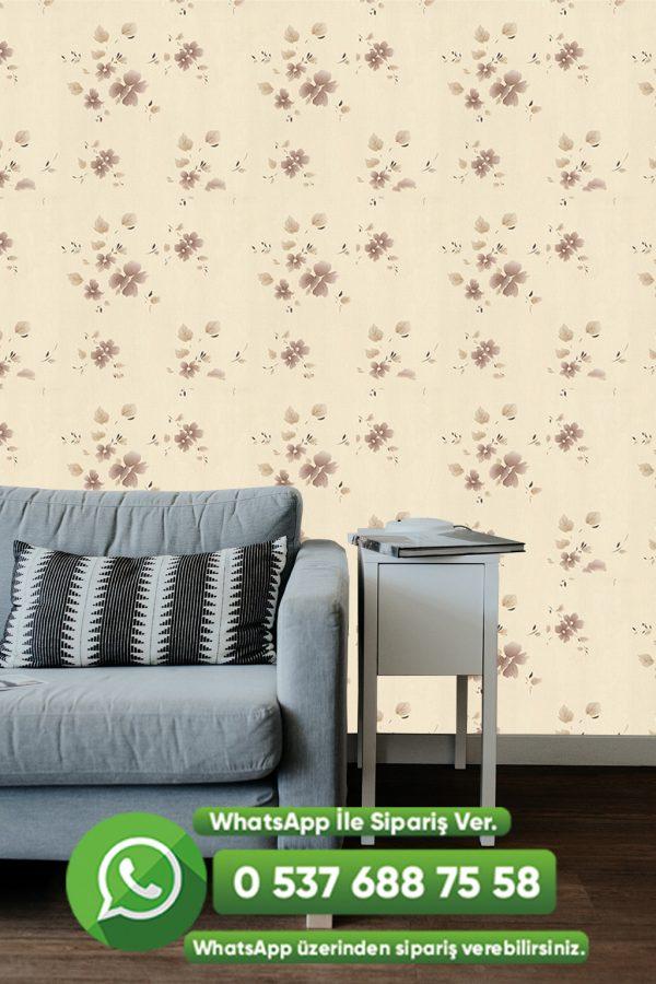 Kahve Çiçekli Duvar Kağıdı Krem
