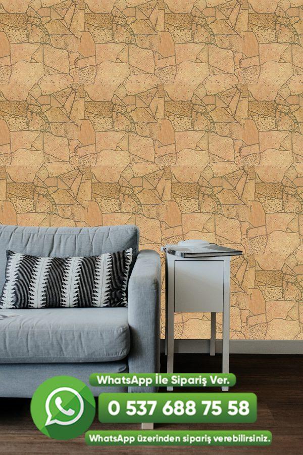 Doğal Taş Desenli Duvar Kağıdı Sarı