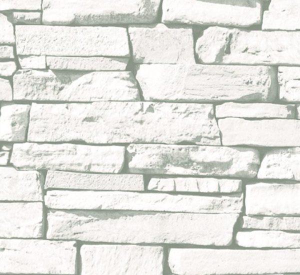 Beyaz Taş Desenli Duvar Kağıdı